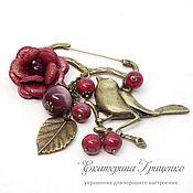 Украшения handmade. Livemaster - original item Brooch pin with pendants. brooch with bird. Pin decorative. Handmade.