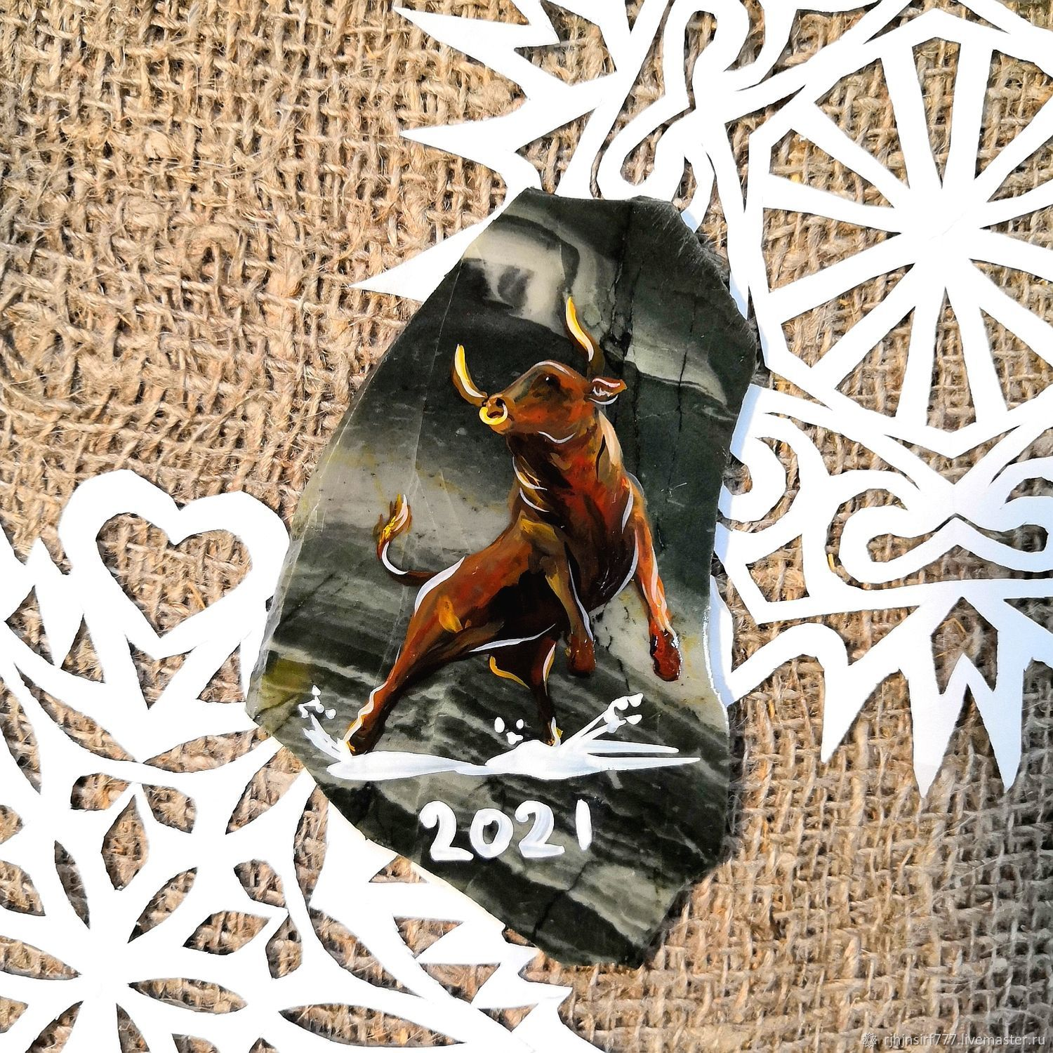 New year 2021 stone Magnet Jasper Year of the Bull, Year of the Ox, Zmeinogorsk,  Фото №1