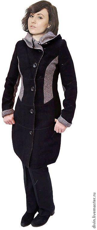 Верхняя одежда ручной работы. Ярмарка Мастеров - ручная работа. Купить Демисезонное женское пальто с капюшоном Agata nero. Handmade.