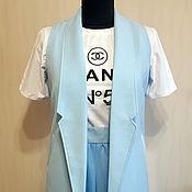 Одежда ручной работы. Ярмарка Мастеров - ручная работа Голубой жилет без застежек. Размер М. Handmade.