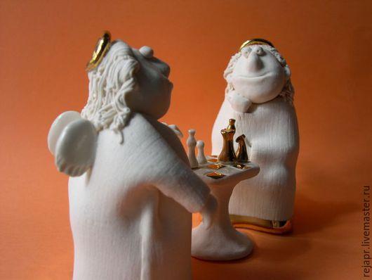Персональные подарки ручной работы. Ярмарка Мастеров - ручная работа. Купить Ангелы играют в шахматы.. Handmade. Белый, фарфор, золото