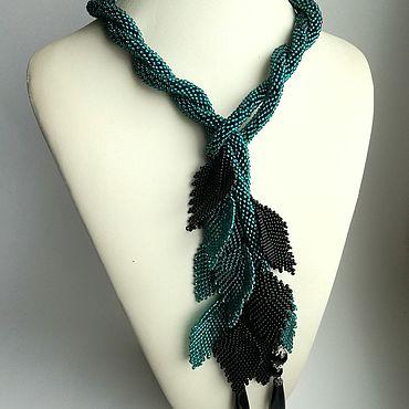 Decorations handmade. Livemaster - original item Bead Lariat, bead harness, beads, with agate beads. Handmade.