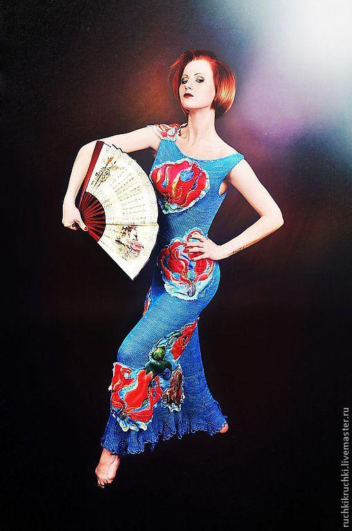 """Платья ручной работы. Ярмарка Мастеров - ручная работа. Купить Платье спицами """"Глориоза"""" из шелка с объемными аппликациями. Handmade. Синий"""