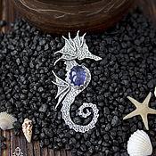 Украшения ручной работы. Ярмарка Мастеров - ручная работа Морской конек - подвеска, кулон из серебра с камнем. Handmade.
