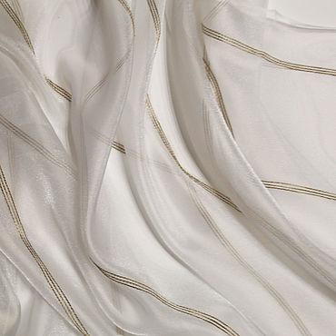 Текстиль ручной работы. Ярмарка Мастеров - ручная работа Белая органза с тонкой бежевой полосой из нитей льна и люрекса.. Handmade.