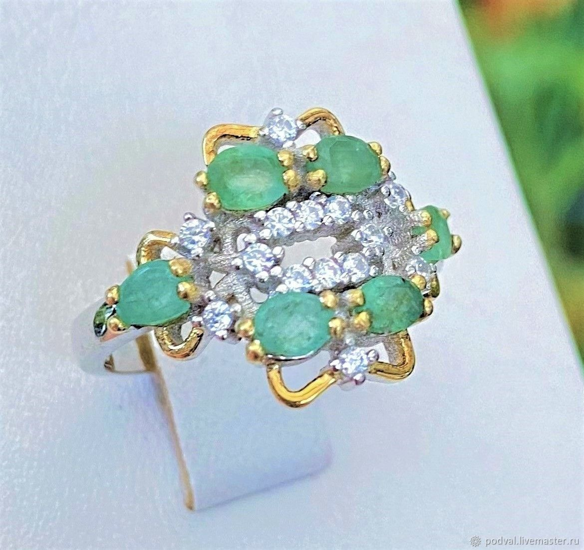 Ring with natural emeralds 'Jasmine' (17,75), Rings, Korolev,  Фото №1
