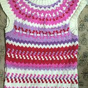 Одежда handmade. Livemaster - original item Knitted vest lopapeysa cashmere lilac white pink cranberries. Handmade.