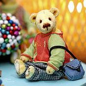 Куклы и игрушки handmade. Livemaster - original item Yellow plush Teddy bear - Tyoma (dressed in clothes with a small bag). Handmade.