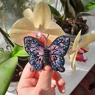 Украшения ручной работы. Ярмарка Мастеров - ручная работа Брошь бабочка. Handmade.