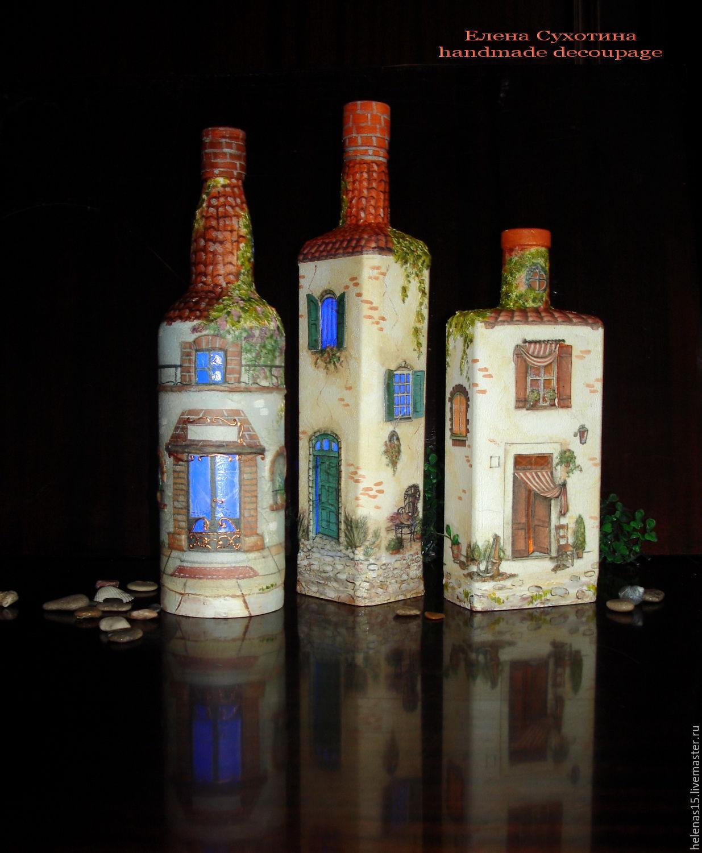 декор бутылок в виде домика