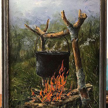 Картины и панно. Ярмарка Мастеров - ручная работа Картины: Котелок на костре. Handmade.