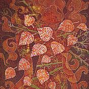 Картины и панно ручной работы. Ярмарка Мастеров - ручная работа Картина Осенние Кракелюры выполненная на хб ткани в технике батика. Handmade.