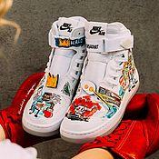 Обувь ручной работы handmade. Livemaster - original item painted shoes. Custom sneakers. Nike Air Jordan printed sneakers. Handmade.