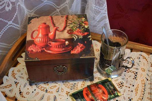 """Кухня ручной работы. Ярмарка Мастеров - ручная работа. Купить Чайная шкатулка """"Рябиновые бусы"""". Handmade. Бордовый, рябиновые бусы"""