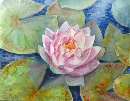 Картины цветов ручной работы. Ярмарка Мастеров - ручная работа. Купить Акварельная картина Розовая кувшинка. Handmade. Синий