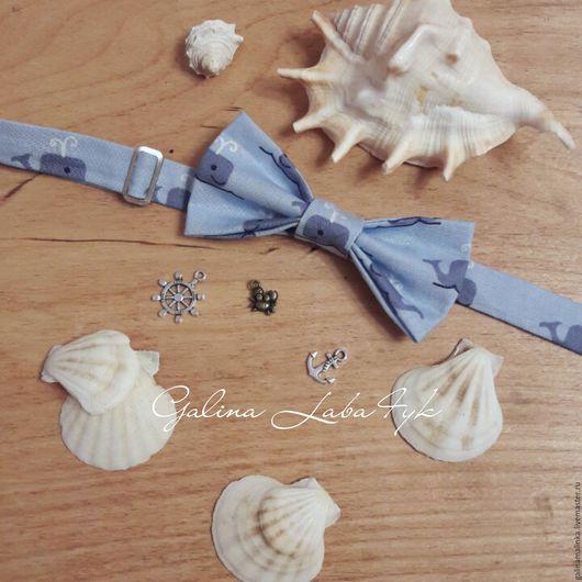 Галстуки, бабочки ручной работы. Ярмарка Мастеров - ручная работа. Купить Бабочка галстук с китами. Handmade. Голубой, принт на ткани