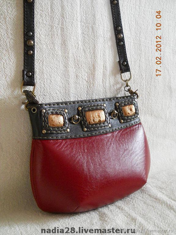 2ff859914f8c Маленькая красная сумочка на длинном ремешке натуральная кожа ...