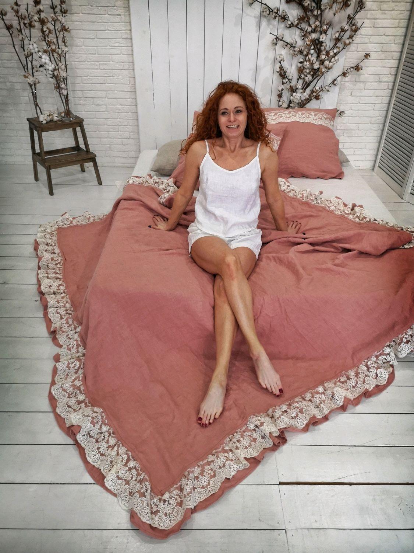 Текстиль, ковры ручной работы. Ярмарка Мастеров - ручная работа. Купить Льняное постельное белье с кружевом Дольче Вита. Handmade.