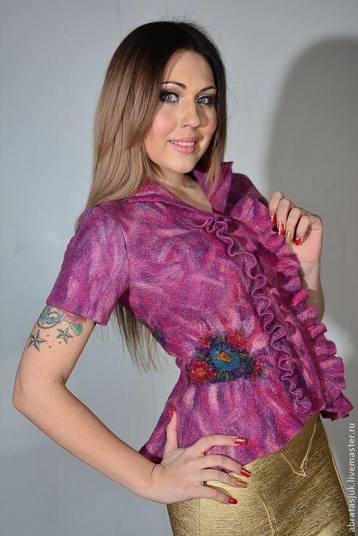 """Пиджаки, жакеты ручной работы. Ярмарка Мастеров - ручная работа. Купить Жакет """"Волшебный сад"""". Handmade. Фиолетовый, одежда для женщин"""