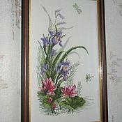 "Картины и панно handmade. Livemaster - original item Embroidered pictures. Triptych ""Flowers"". Handmade."