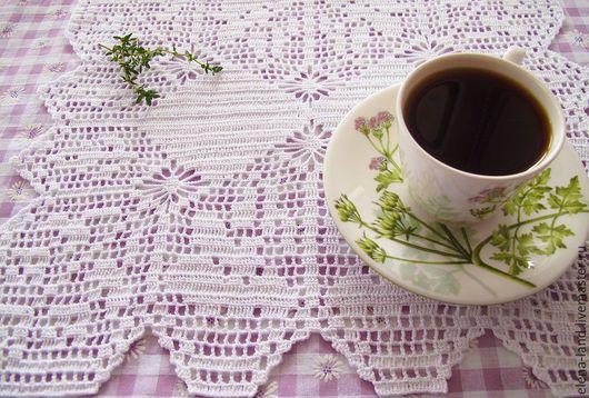 """Текстиль, ковры ручной работы. Ярмарка Мастеров - ручная работа. Купить салфетка """"С добрым утром!"""". Handmade. Белый"""