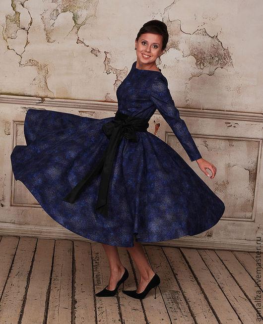 """Платья ручной работы. Ярмарка Мастеров - ручная работа. Купить Платье в стиле ретро """"Синева 2"""". Handmade. Тёмно-синий"""