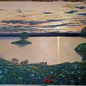 """Картины и панно ручной работы. Ярмарка Мастеров - ручная работа картина""""Вечер у реки"""". Handmade."""