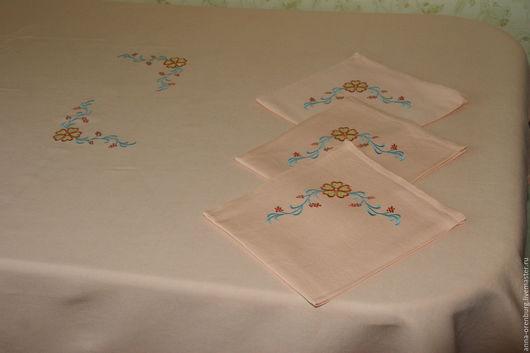 Текстиль, ковры ручной работы. Ярмарка Мастеров - ручная работа. Купить Льняные скатерть и салфетки с вышивкой. Handmade. Столовое белье