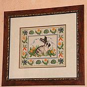 """Картины и панно ручной работы. Ярмарка Мастеров - ручная работа Вышитая картина"""" Кролик"""". Handmade."""