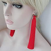 Украшения handmade. Livemaster - original item Earrings tassels Simply Red - silk.. Handmade.