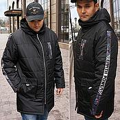 Мужская одежда handmade. Livemaster - original item Men`s hooded jacket, black long jacket, zippered jacket. Handmade.