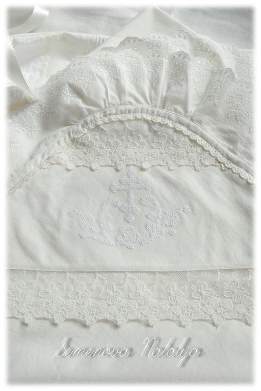 Крестильные принадлежности ручной работы. Ярмарка Мастеров - ручная работа. Купить Крыжма для крещения, крестильная пеленка с капюшоном, крестины. Handmade.