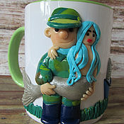 Посуда handmade. Livemaster - original item Mug so fishing! decor polymer clay. Handmade.