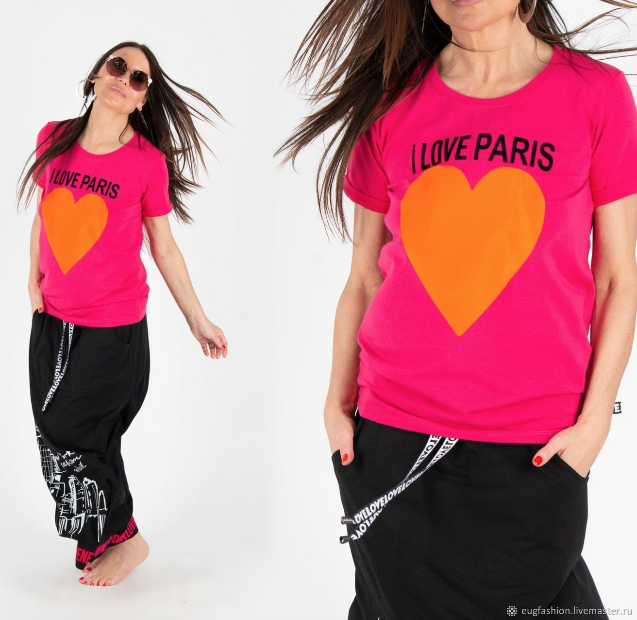 Hot pink top Love Love Paris / t-Shirt with print TP0536TR, T-shirts, Sofia,  Фото №1