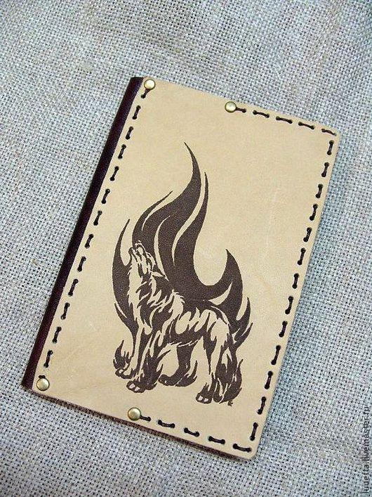 """Обложки ручной работы. Ярмарка Мастеров - ручная работа. Купить Обложка для паспорта """"Волк в пламени"""". Handmade. Коричневый, обложка для паспорта"""