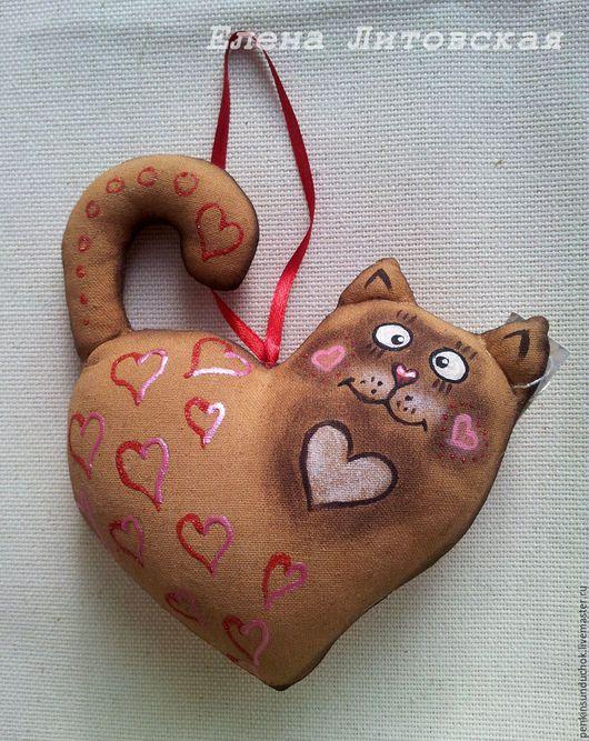 Подарки для влюбленных ручной работы. Ярмарка Мастеров - ручная работа. Купить Сердце - котик. Handmade. Коричневый, чердачная игрушка, кот