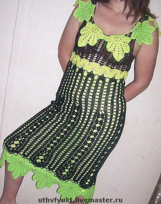"""Платья ручной работы. Ярмарка Мастеров - ручная работа. Купить сарафан """"Листья"""". Handmade. Черный, вязаное платье, ручная работа"""