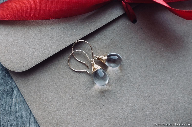Czech glass drop earrings in goldfilled, Earrings, Samara,  Фото №1