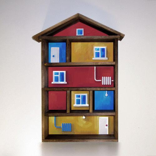 Мебель ручной работы. Ярмарка Мастеров - ручная работа. Купить Полка для мелочей «Домик». Handmade. Полка, рисунок, на стену, коричневый