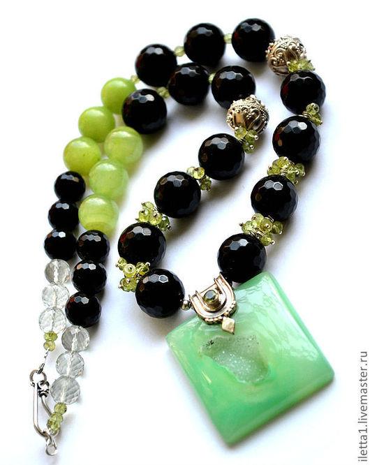 """Колье, бусы ручной работы. Ярмарка Мастеров - ручная работа. Купить Колье  """"Зеленый остров"""" серебро 925 (Перидот,агат,оникс,зелен.аметист). Handmade."""
