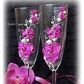 Свадебный салон ручной работы. Ярмарка Мастеров - ручная работа Свадебные бокалы с лепкой. Орхидеи и розы.. Handmade.