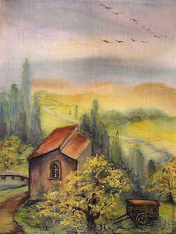 Картина Акварель на ситце Домик в горах, Картины, Новосибирск,  Фото №1
