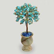 Цветы и флористика handmade. Livemaster - original item Tree of turquoise and carnelian