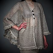 Одежда handmade. Livemaster - original item Associated from flax .Fishnet poncho from 3500 rubles. Handmade.