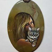 """Украшения ручной работы. Ярмарка Мастеров - ручная работа Кулон """"Портрет с кошкой"""". Handmade."""