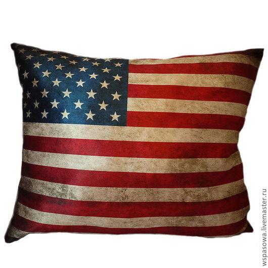 Текстиль, ковры ручной работы. Ярмарка Мастеров - ручная работа. Купить Бархатная подушка Американский флаг. Handmade. Подушка, флаг