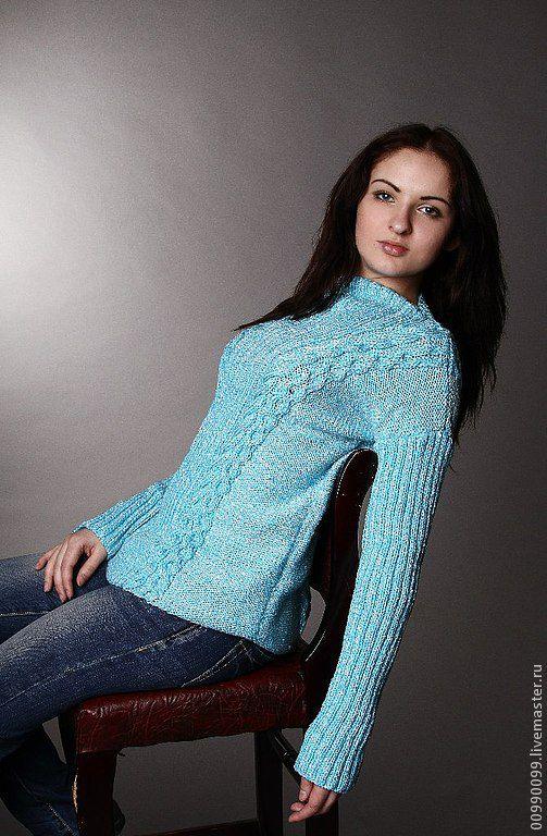 """Кофты и свитера ручной работы. Ярмарка Мастеров - ручная работа. Купить Пуловер """"Лаура"""". Handmade. Бирюзовый, пуловер с косами"""