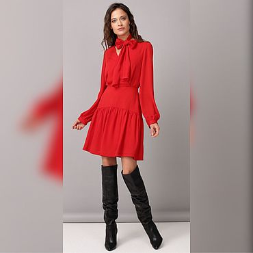 Одежда ручной работы. Ярмарка Мастеров - ручная работа Платье с бантиком в красном цвете. Handmade.