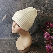 Аксессуары handmade. Livemaster - original item Knitted hat, Merino beanie, pumpkin, Merino wool. Handmade.