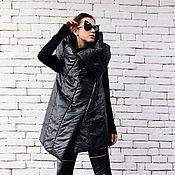 Одежда ручной работы. Ярмарка Мастеров - ручная работа Куртка с капюшоном, черный жилет. Handmade.